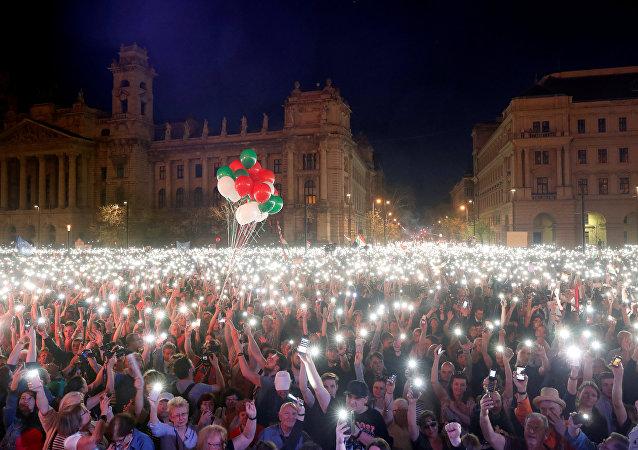 Manifestación en Budapest