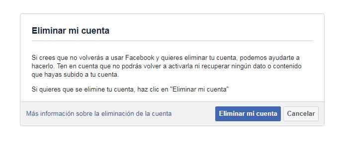 Así eliminas tu cuenta de Facebook