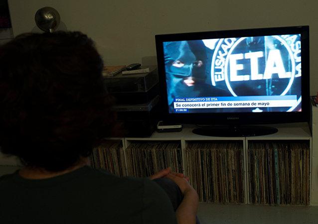 Logo de ETA en la tele (imagen referencial)