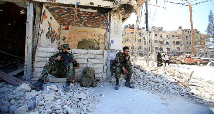 Policía de Siria en la ciudad de Duma