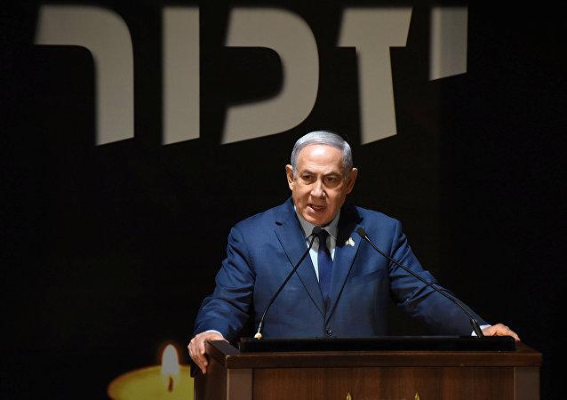 El primer ministro de Israel, Benjamín Netanyahu, durante la conmemoración del 70 aniversario de la fundación del Estado hebreo