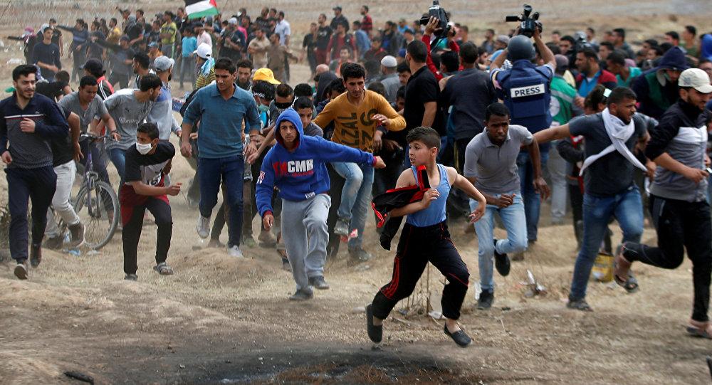 Manifestaciones de los palestinos en la Franja de Gaza