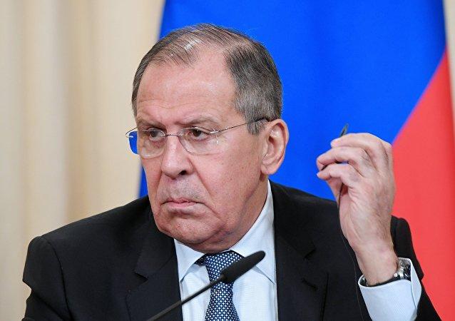 Serguéi Lavrov, ministro de Asuntos Exteriores de Rusia durante la rueda de prensa con la ministra de Exteriores de Austria, Karin Kneissl