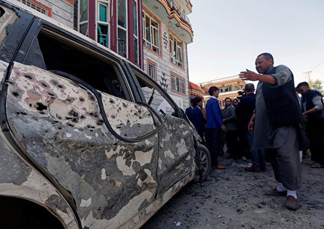 El lugar del atentado en Afghanistán