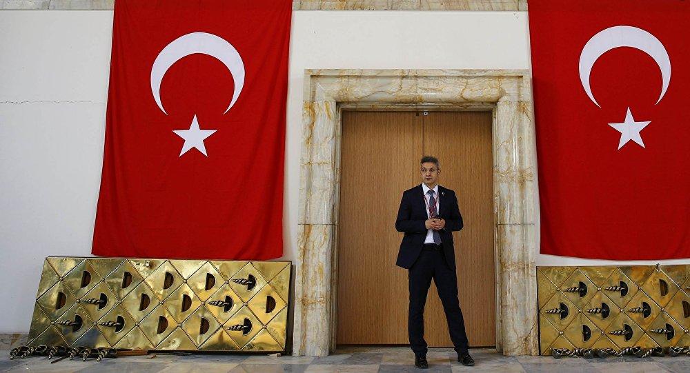 La entrada al Parlamento de Turquía