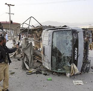 El lugar de la explosión en Quetta, Pakistán