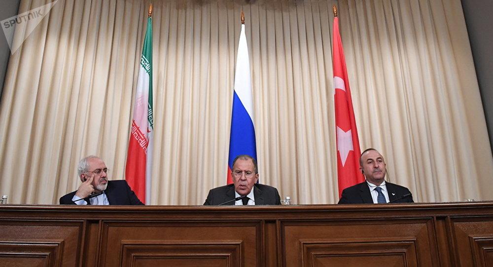 Пресс-конференция глав МИД России, Ирана и Турции