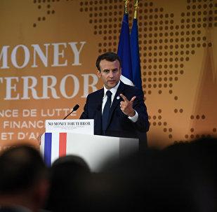 Emmanuel Macron, el presidente de Francia durante la conferencia para la lucha contra el respaldo financiero del terrorismo en París