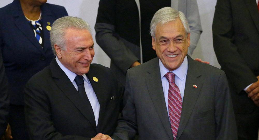 Piñera visita a Brasil con comercio, integración y Venezuela en la agenda
