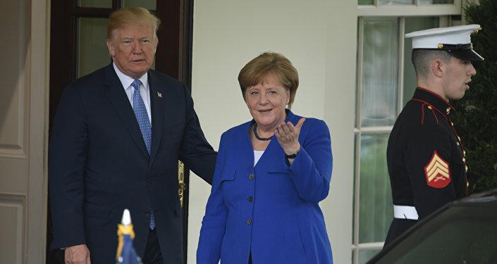 El presidente de Estados Unidos, Donald Trump, recibe a la canciller alemana, Angela Merkel, en la Casa Blanca