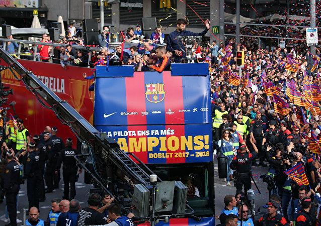 Celebración del doblete del FC Barcelona
