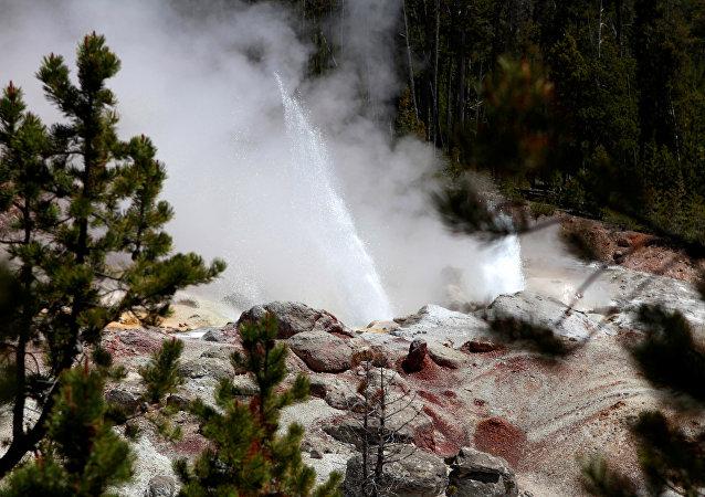 Una erupción del géiser Steamboat, en el Parque Nacional de Yellowstone (archivo)