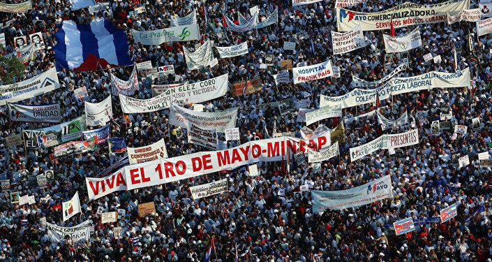 La manifestación por el Día Internacional del Trabajo en La Habana