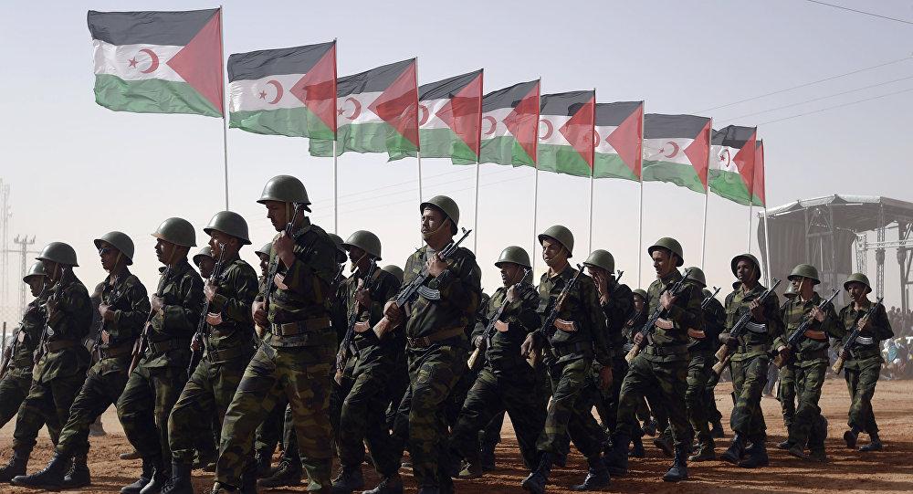 Miembros del Ejército de la Liberación del Pueblo Saharaui con las banderas del Frente Polisario
