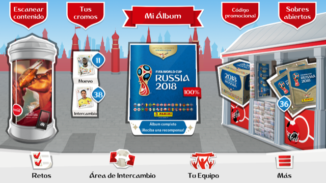 Imagen del álbum digital de Panini sobre el Mundial de Rusia 2018
