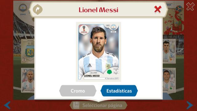 Leonel Messi en el álbum digital de Panini sobre el Mundial de Rusia 2018