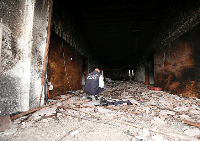 Lugar del atentado contra la autoridad electoral en Libia