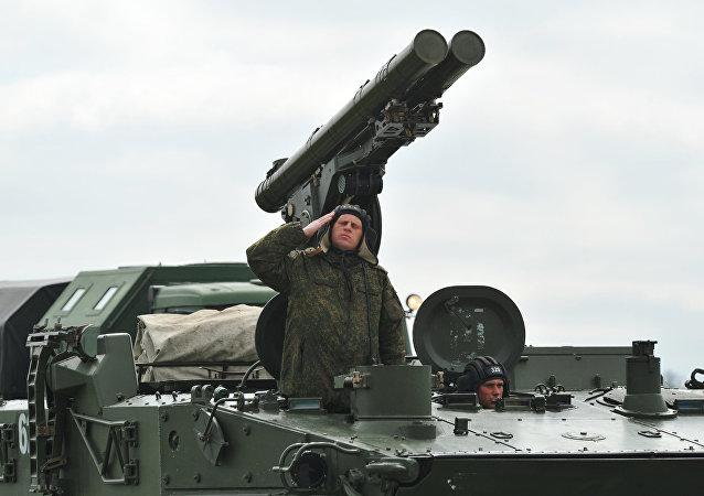 El sistema antitanque ruso Jrisantema-S (imagen referencial)