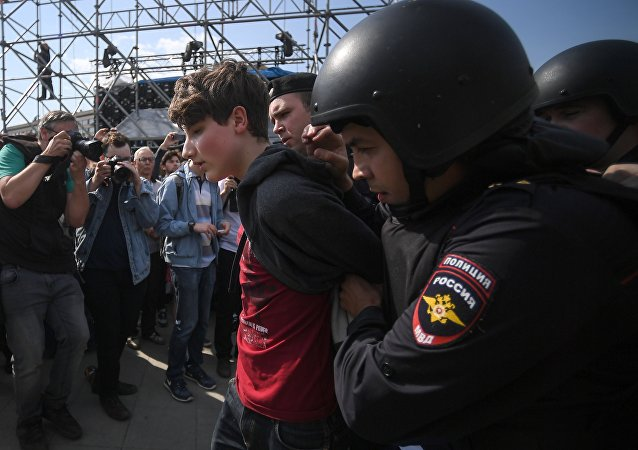 Manifestación de protesta en el centro de Moscú