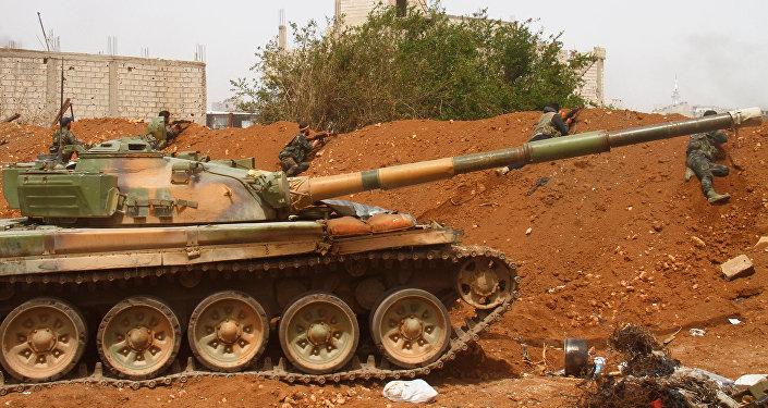 Soldados de las FFAA sirias en Damasco