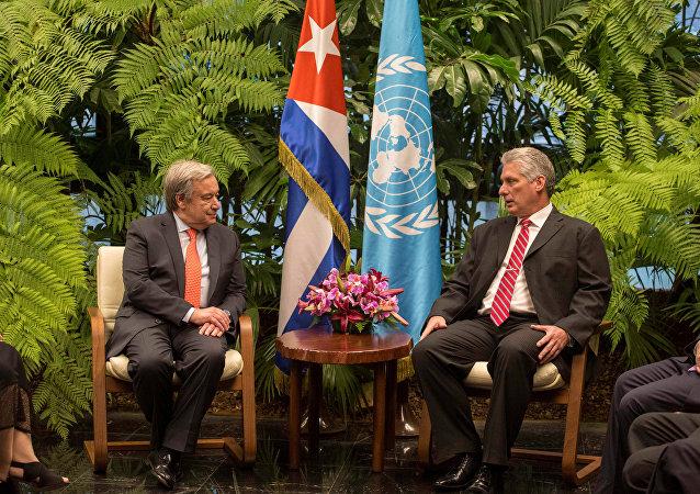 António Guterres, secretario general de la ONU, y Miguel Díaz-Canel, presidente de Cuba