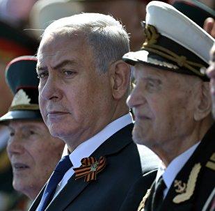 El primer ministro de Israel, Benjamín Netanyahu durante Desfile durante el Día de la Victoria en la Plaza Roja, Moscú, Rusia
