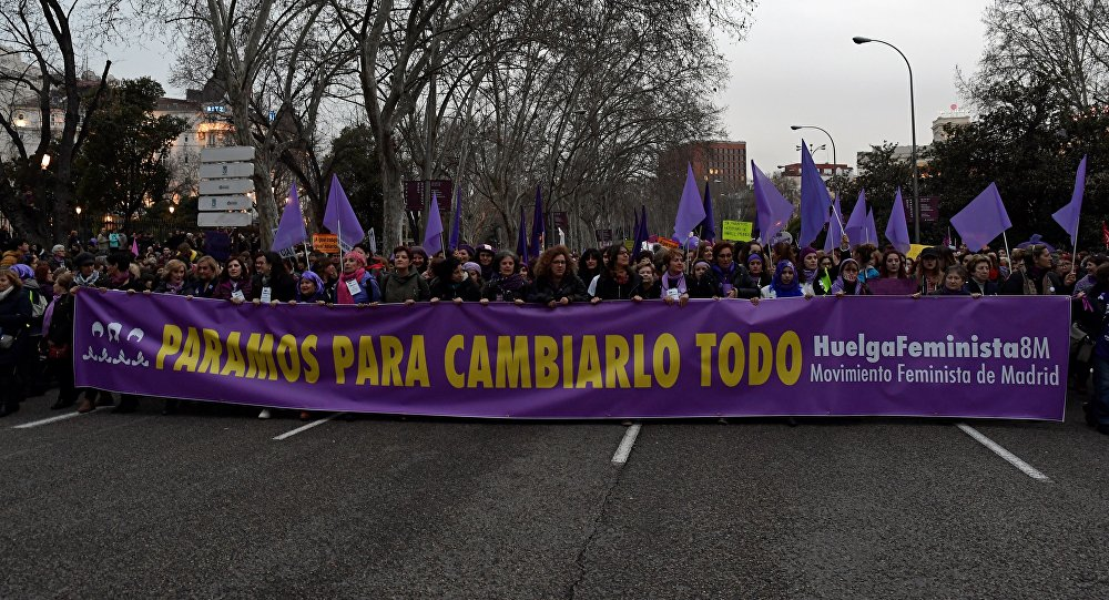 Manifestación por los derechos de las mujeres en Madrid, España