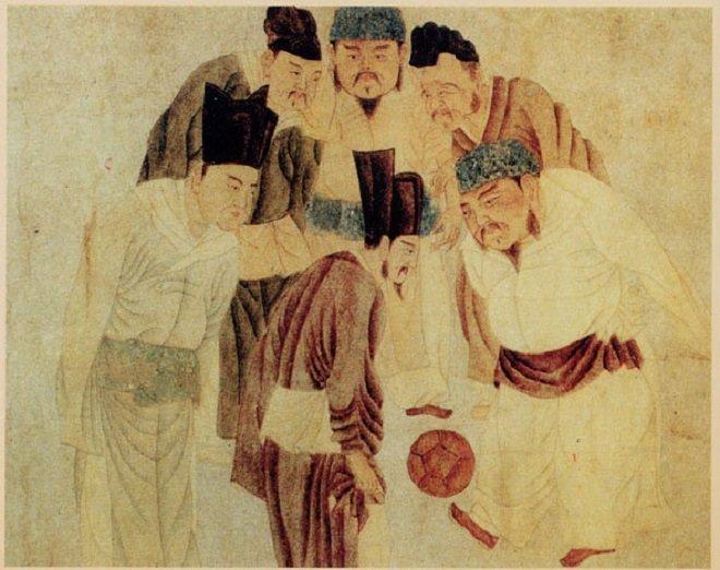 La imagen del emperador chino Song Taizu jugando Cuju