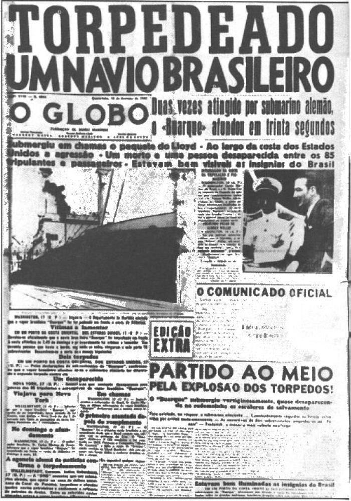 Portada del periódico El Globo con el titular del hundimiento del navío brasileño Buarque, en febrero de 1942