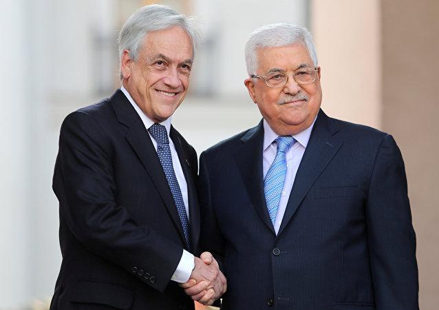 Presidente de Chile, Sebastián Piñera, y presidente palestino, Mahmud Abás