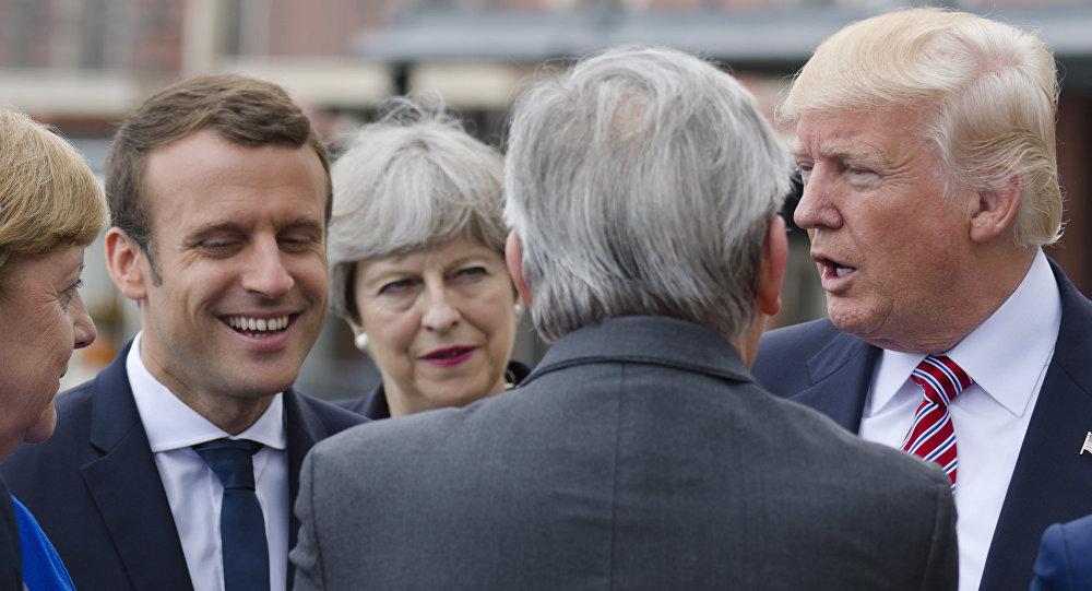 Líderes europeos se encuentran con Donald Trump en el marco del foro del G7 en Taormina (Italia), 26 de mayo de 2017