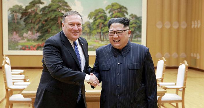FMike Pompeo, secretario de Estado de EEUU, y Kim Jong-un, líder norcoreano