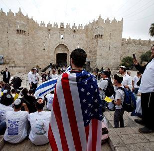 Bandera de EEUU en Jerusalén