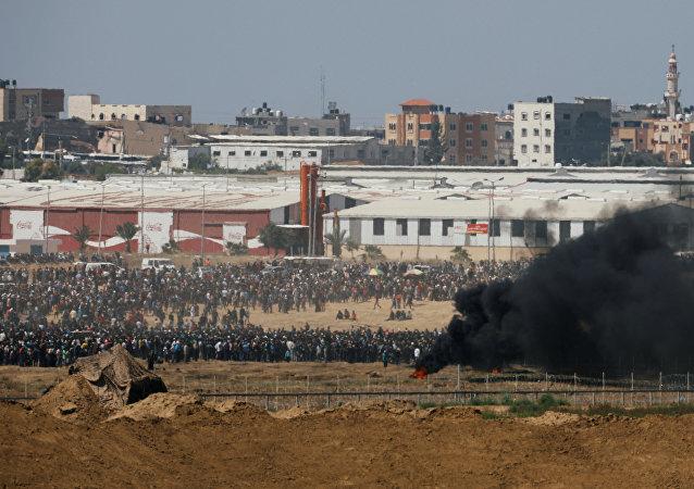 Protestas de los palestinos en la frontera entre la Franja de Gaza e Israel
