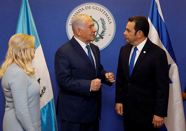 Primer ministro de Israel, Benjamín Netanyahu, y el presidente de Guatemala, Jimmy Morales