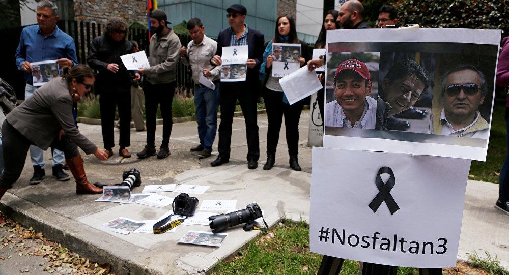 Una protesta por el asesinato de los periodistas en la frontera entre Ecuador y Colombia
