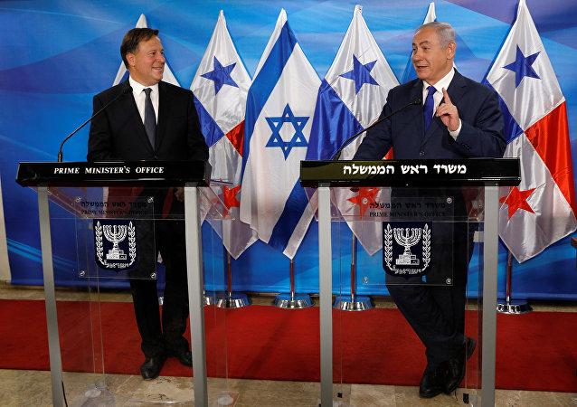 El presidente de Panamá, Juan Carlos Varela, y el primer ministro de Israel, Benjamín Netanyahu