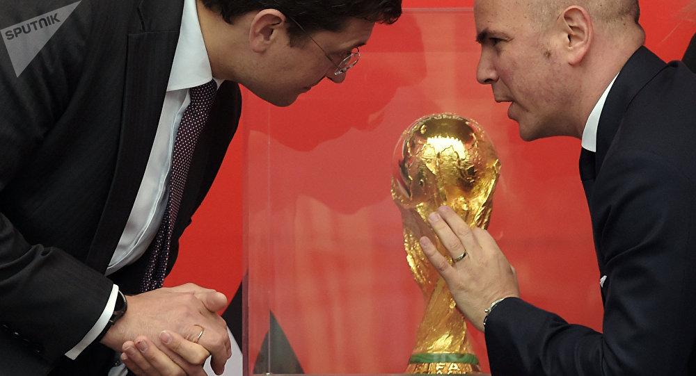 El trofeo del Mundial de Fútbol 2018 en Nizhni Nóvgorod