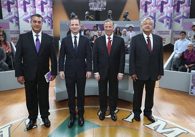 Jaime Rodriguez Calderon, Ricardo Anaya, Jose Antonio Meade y Andres Manuel Lopez Obrador en Tijuana, candidatos presidenciales mexicanos (archivo)