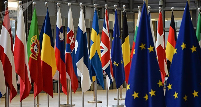 Las banderas de los países de la UE en Bruselas