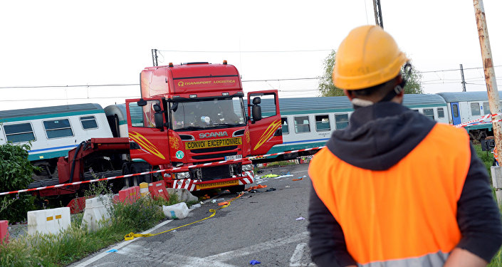 Lugar del accidente ferroviario en Turín, Italia