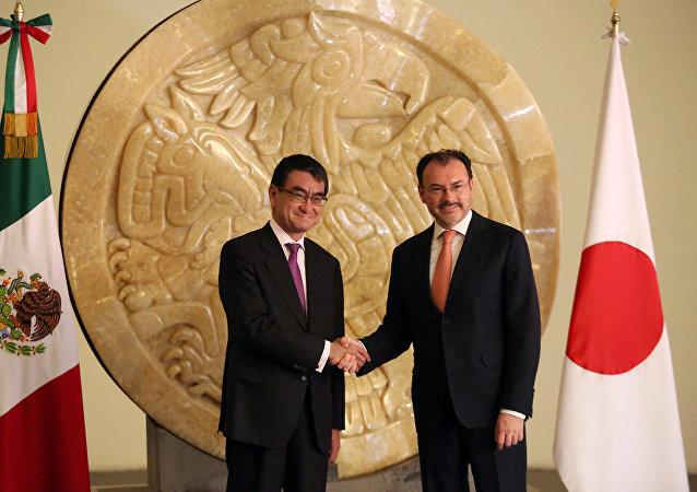 Los cancilleres de México, Luis Videgaray, y de Japón, Taro Kono