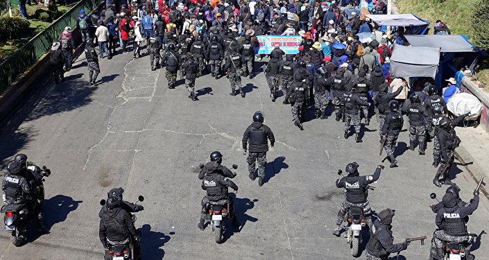Manifestación en la ciudad de El Alto, Bolivia