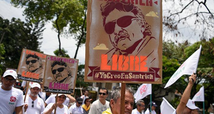 Partidarios del exguerrillero colombiano Jesús Santrich