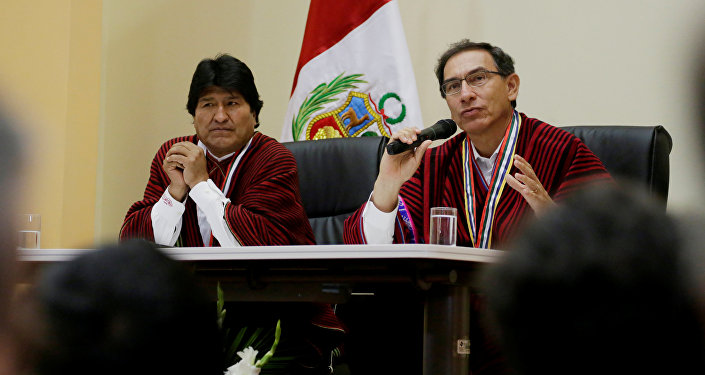 Presidente de Bolivia, Evo Morales, presidente peruano Martín Vizcarra (Archivo)