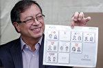Gustavo Petro ejerce su derecho al voto en las presidenciales colombianas de 2018