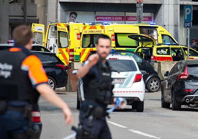 El lugar del tiroteo en Lieja, Bélgica