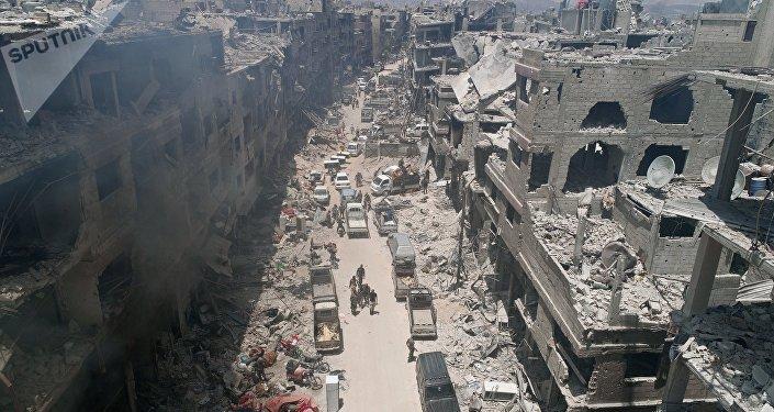 Las ruinas de los edificios en Siria (archivo)