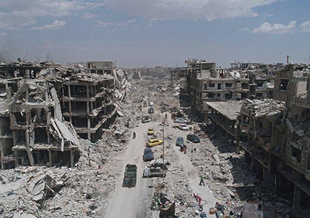 El campo de refugiados palestinos Yarmuk situado en el sur de Damasco