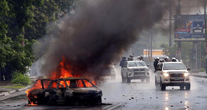 Policía durante protestas en Nicaragua